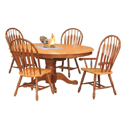 Sunset Trading 5 Piece Pedestal Butterfly Leaf Dining Table Set w/Two Comfort Arm Chairs in Medium Walnut & Light Oak