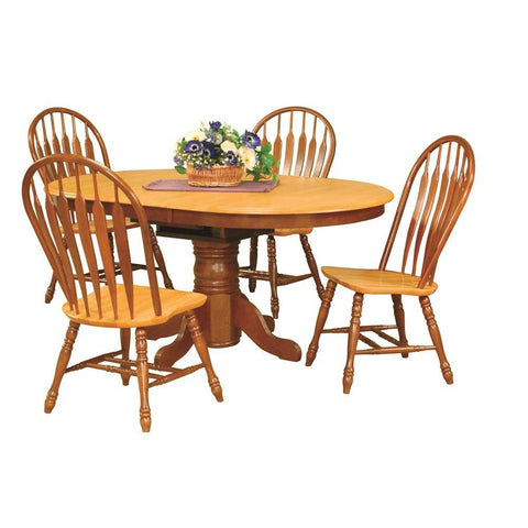Sunset Trading 5 Piece Pedestal Dining Table Set w/Comfort Back Chairs in Medium Walnut w/Light Oak