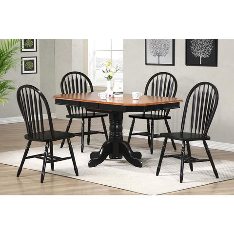 Sunset Trading 5 Piece Pedestal Extension Dining Table Set w/Antique Black Arrowback Chairs in Distressed Antique Black w/Cherry