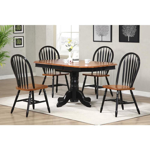 Sunset Trading 5 Piece Pedestal Extension Dining Table Set w/Arrowback Chairs in Distressed Antique Black w/Cherry