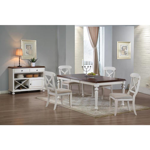 Sunset Trading 6 Piece Andrews Butterfly Leaf Dining Table Set w/Server in Antique White w/Distressed Chestnut Top