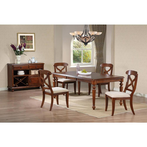 Sunset Trading 6 Piece Andrews Butterfly Leaf Dining Table Set w/Server in Distressed Chestnut