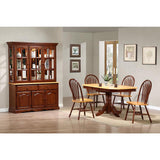 Sunset Trading 6 Piece Pedestal Extension Dining Table Set w/China Cabinet in Medium Walnut w/Light Oak