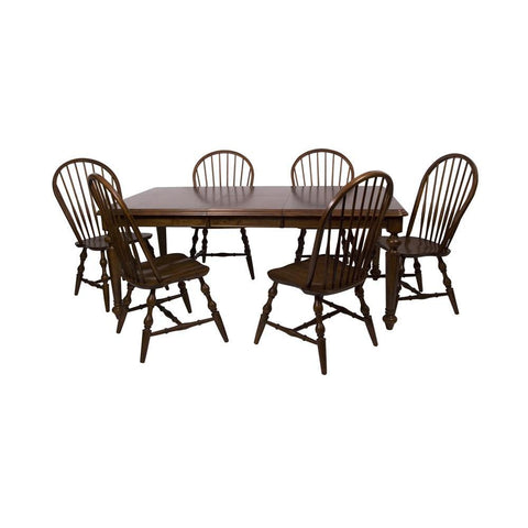 Sunset Trading 7 Piece Andrews Butterfly Leaf Dining Table Set in Distressed Chestnut
