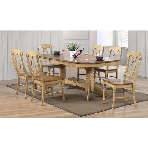 Sunset Trading 7 Piece Brook Double Pedestal Extension Dining Table Set w/Napoleon Chairs in Distressed Light Creamy Wheat w/Warm Pecan