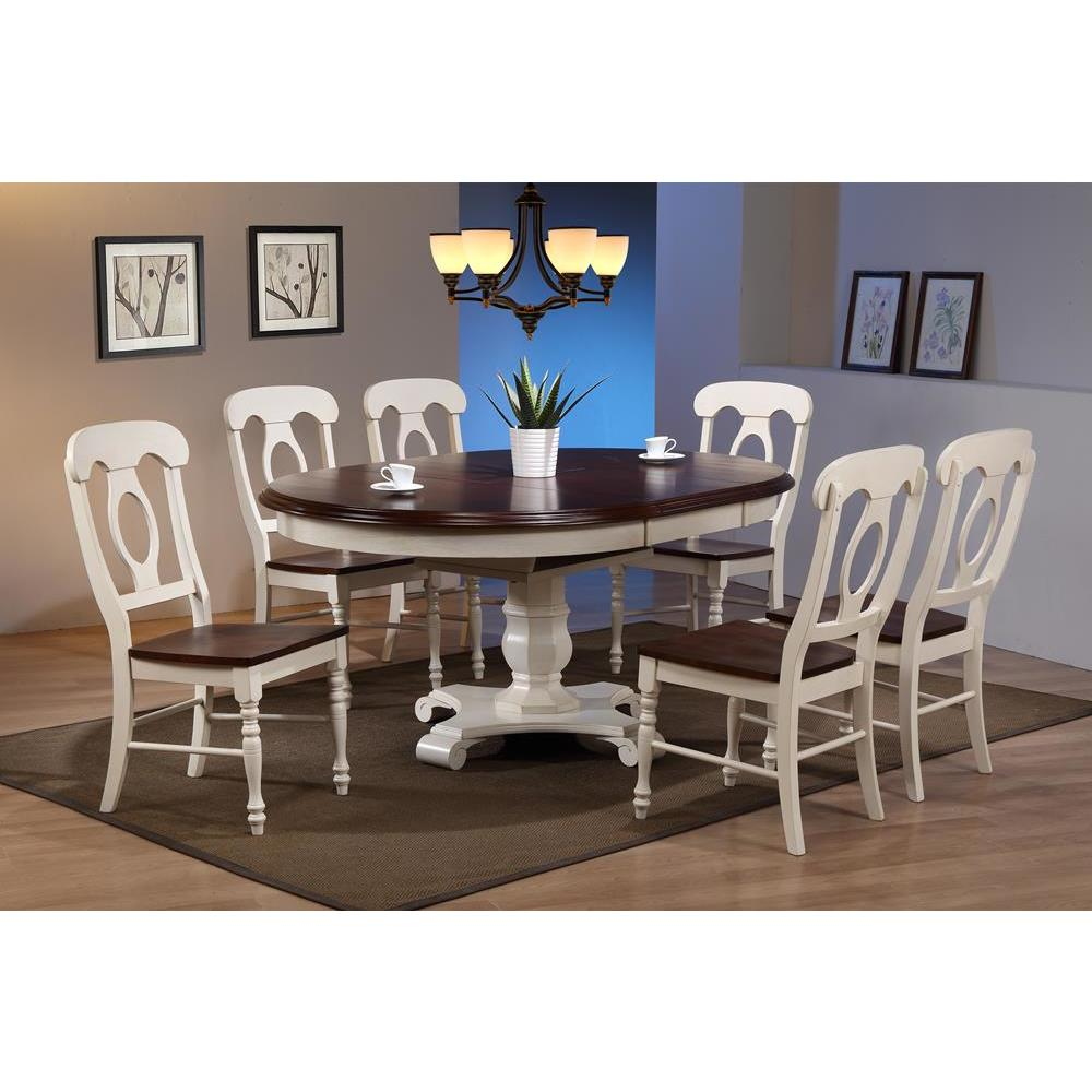 Sunset Trading 7 Piece Butterfly Leaf Dining Table Set w/Napoleon Chairs in  Distressed Antique White w/Chestnut