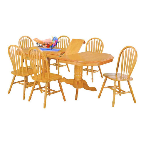 Sunset Trading 7 Piece Double Pedestal Trestle Butterfly Leaf Dining Table Set in Light Oak
