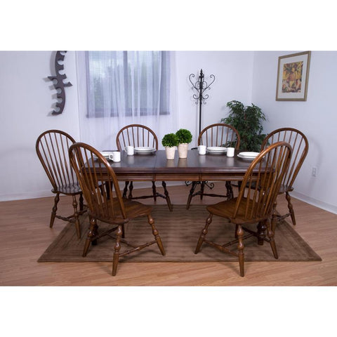 Sunset Trading 7 Piece Extension Dining Set w/Chestnut Arrowback Chairs