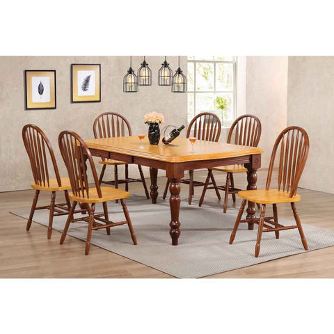 Sunset Trading 7 Piece Extension Dining Set w/Nutmeg Light Oak Arrowback Chairs