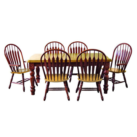 Sunset Trading 7 Piece Extension Dining Table Set w/Four Side Chairs & Two Arm Chairs in Medium Walnut