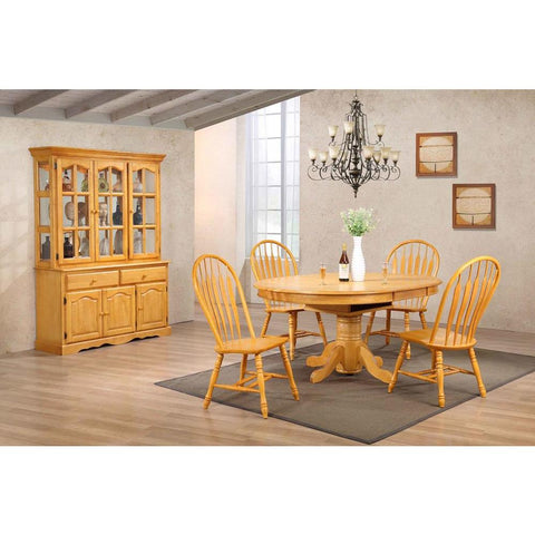 Sunset Trading 7 Piece Pedestal Dining Table Set w/China Cabinet in Light Oak