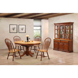 Sunset Trading 7 Piece Pedestal Dining Table Set w/China Cabinet in Medium Walnut & Light Oak