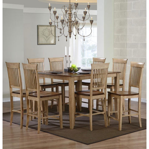 Sunset Trading 9 Piece Brook 48 Inch Square Pub Set w/Fancy Slat Stools in Distressed Light Creamy Wheat w/Warm Pecan