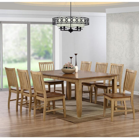Sunset Trading 9 Piece Brook Extension Dining Table Set in Distressed Light Creamy Wheat w/Warm Pecan