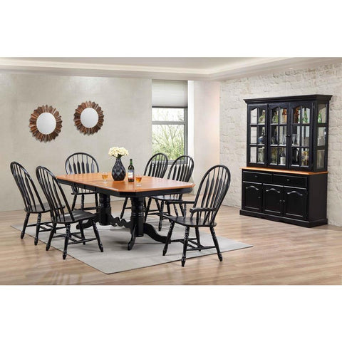 Sunset Trading 9 Piece Double Pedestal Trestle Dining Table Set w/China Cabinet in Distressed Antique Black w/Cherry