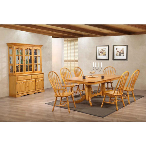 Sunset Trading 9 Piece Double Pedestal Trestle Dining Table Set w/China Cabinet in Light Oak