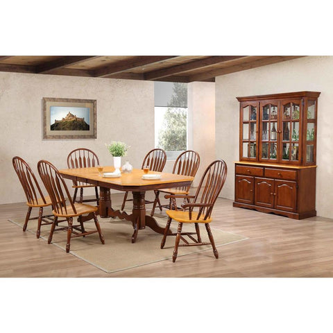 Sunset Trading 9 Piece Double Pedestal Trestle Dining Table Set w/China Cabinet in Medium Walnut w/Light Oak