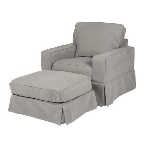 Sunset Trading Americana Slipcovered Chair & Ottoman - Performance Gray