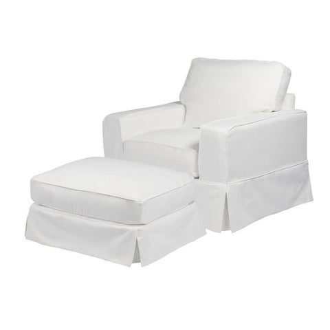 Sunset Trading Americana Slipcovered Chair & Ottoman - Performance White