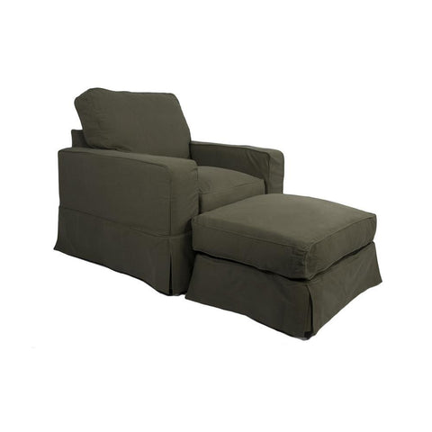 Sunset Trading Americana Slipcovered Chair & Ottoman in Forest Green
