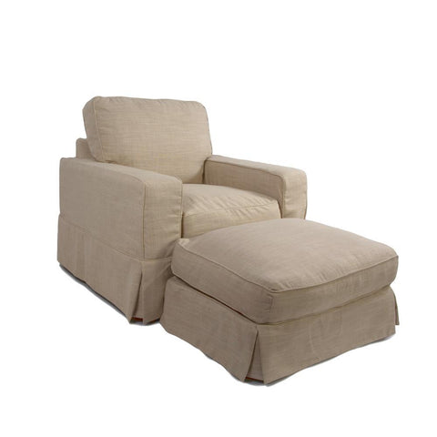 Sunset Trading Americana Slipcovered Chair & Ottoman in Linen