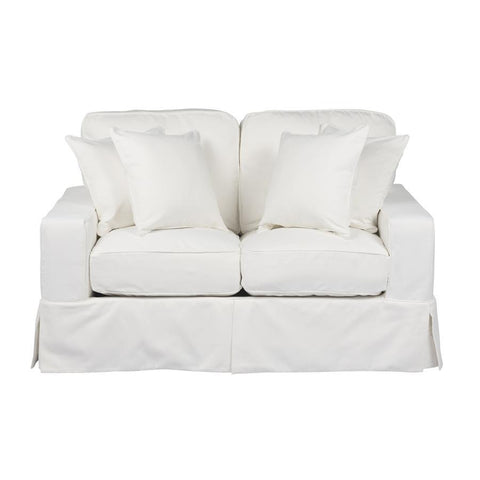 Sunset Trading Americana Slipcovered Loveseat - Performance White