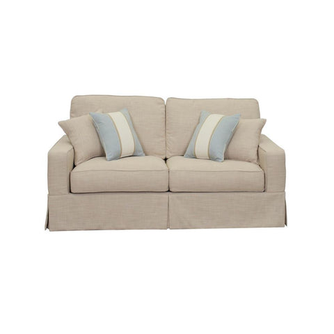 Sunset Trading Americana Slipcovered Loveseat in Linen
