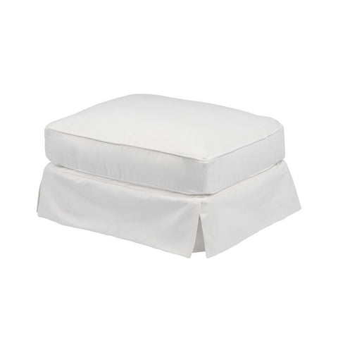 Sunset Trading Americana Slipcovered Ottoman - Performance White