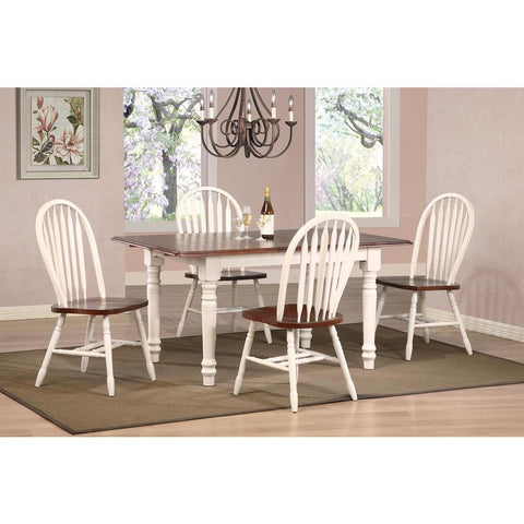 Sunset Trading Andrews 5 Piece Butterfly Dining Table Set w/Arrowback Chairs in Antique White w/Chestnut