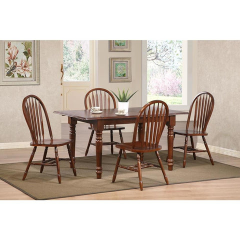 Sunset Trading Andrews 5 Piece Butterfly Dining Table Set w/Arrowback Chairs in Distressed Chestnut