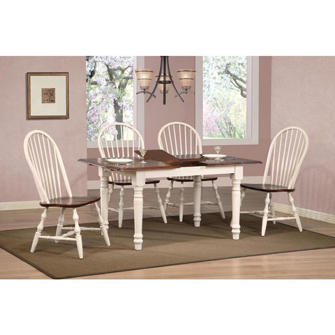 Sunset Trading Andrews 5 Piece Butterfly Dining Table Set w/Windsor Spindleback Chairs in Antique White w/Chestnut