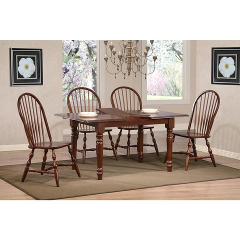 Sunset Trading Andrews 5 Piece Butterfly Dining Table Set w/Windsor Spindleback Chairs in Distressed Chestnut