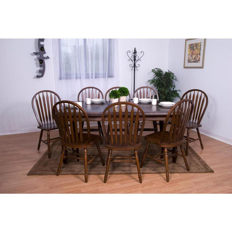 Sunset Trading Andrews 9 Piece Extension Dining Table Set w/Arrowback Chairs in Distressed Chestnut