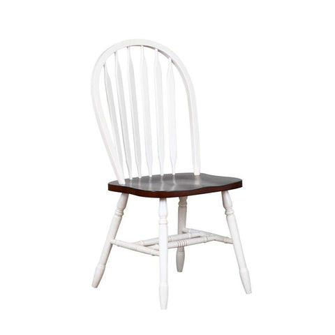Sunset Trading Andrews Arrowback Dining Chair in Distressed Antique White w/Chestnut Seat