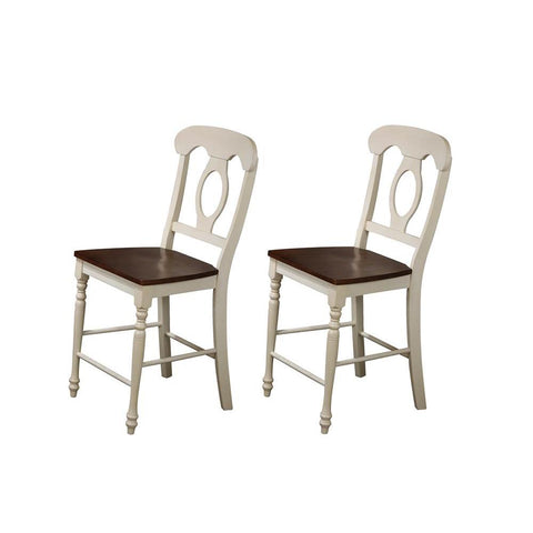 Sunset Trading Andrews Napoleon Barstool in Antique White & Chestnut