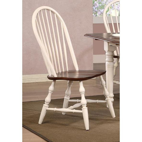 Sunset Trading Andrews Windsor Spindleback Dining Chair in Antique White w/Chestnut Seat