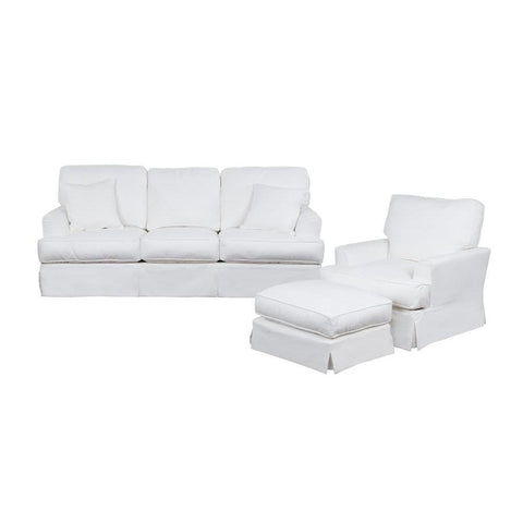 Sunset Trading Ariana 3 Piece Slipcovered Living Room Set - Performance White
