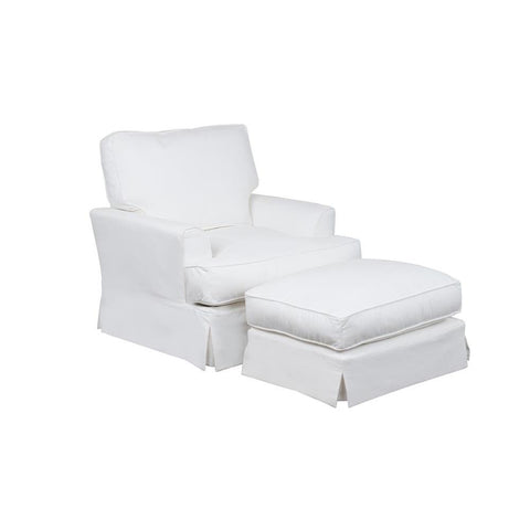 Sunset Trading Ariana Slipcovered Chair w/Ottoman - Performance White