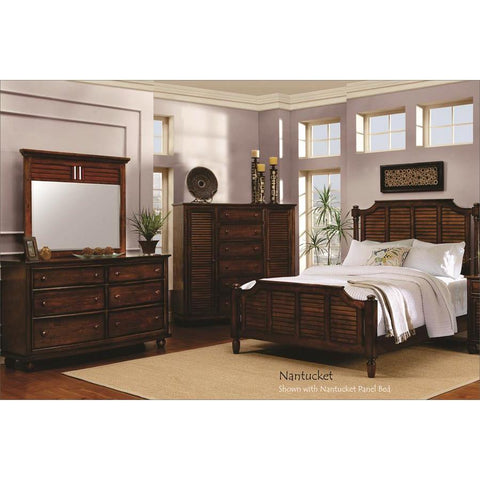 Sunset Trading Bahama Shutter Wood 5 Piece King Bedroom Set in Tropical walnut