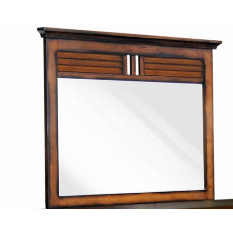 Sunset Trading Bahama Shutter Wood Mirror in Tropical Walnut
