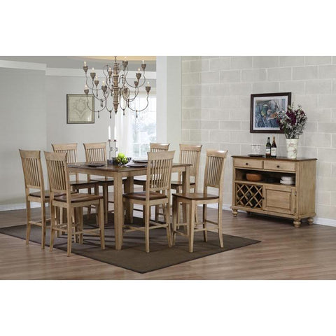 Sunset Trading Brook 10 Piece 48 Inch Square Pub Set w/Fancy Slat Stools & Server