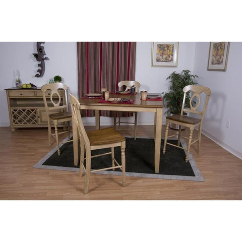 Sunset Trading Brook 6 Piece 48 Inch Square Pub Set w/Napoleon Stools & Server