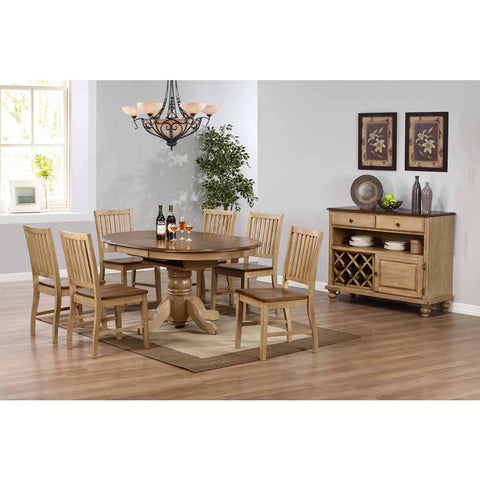 Sunset Trading Brook 8 Piece Round or Oval Butterfly Leaf Dining Set w/Server