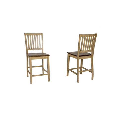 Sunset Trading Brook Slat Back Barstool in Distressed Light Creamy Wheat w/Warm Pecan