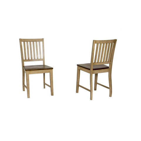 Sunset Trading Brook Slat Back Dining Chair in Distressed Light Creamy Wheat w/Warm Pecan