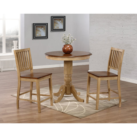 "Sunset Trading Brookpond 36"" Round Cafe Table with Two Slat Back Stools in Wheat Finish"