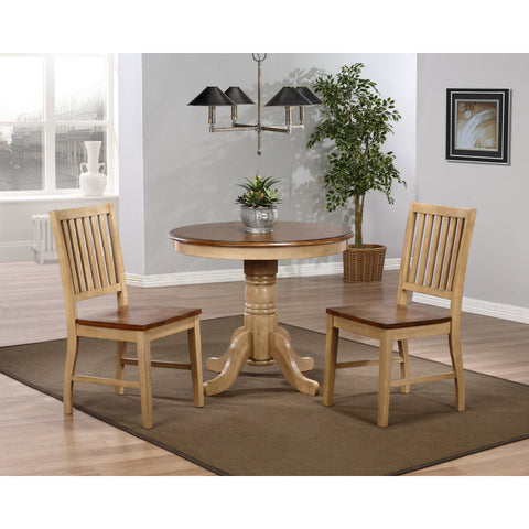 "Sunset Trading Brookpond 36"" Round Table and Two Brookdale Slat Back Chairs in Wheat Finish"