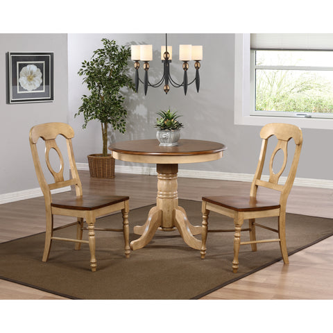 "Sunset Trading Brookpond 36"" Round Table and Two Napoleon Chairs in Wheat Finish"