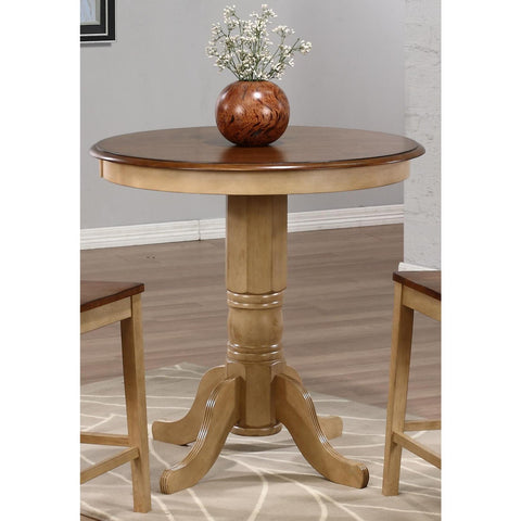 Sunset Trading Brookpond Round Cafe Pedestal Table in Wheat with Pecan Top