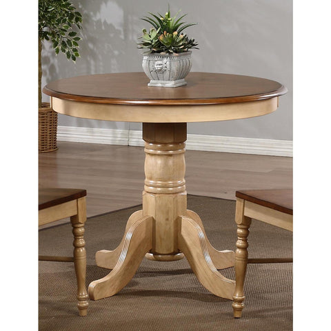 Sunset Trading Brookpond Round Pedestal Table in Wheat with Pecan Top